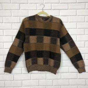 Vintage Marcello Brown Colorblock Sweater Wool